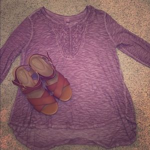Floral Plum 3/4 Sleeve Tunic
